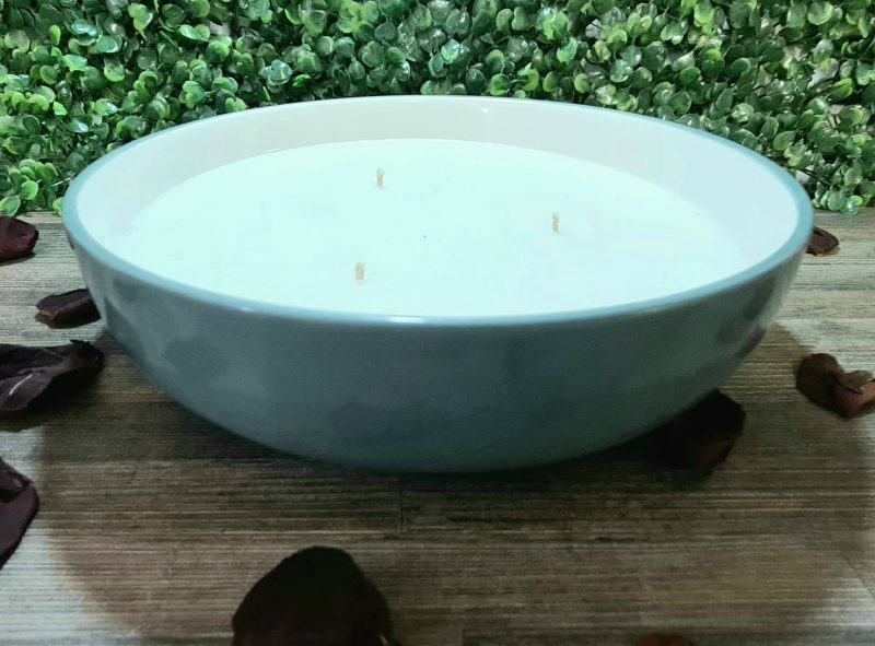 Glass Dish Bowl Container Candle – Duck Egg Green